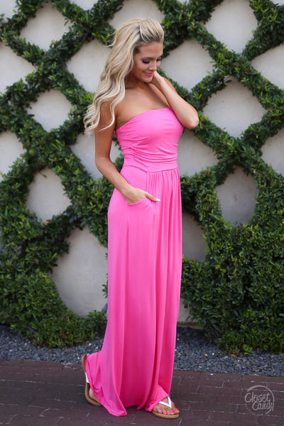 Closet Candy Boutique - cute strapless maxi dress, hot pink dress