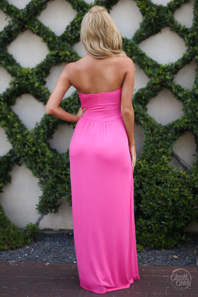 Closet Candy Boutique - cute strapless maxi dress, hot pink dress, back