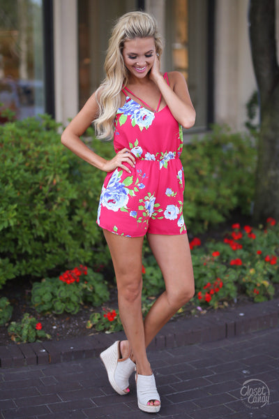 EVERLY That's My Song Romper - Fuchsia floral womens trendy clothes fashion stylish cute closet candy boutique