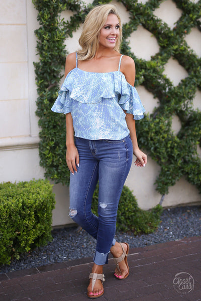 Closet Candy Boutique - cute ruffle off the shoulder printed top, spring and summer shirt
