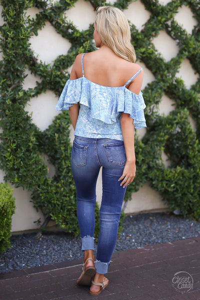 Closet Candy Boutique - cute ruffle off the shoulder printed top, spring and summer shirt, back
