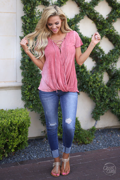 Closet Candy Boutique, Story of Us Top, short sleeve surplice top with criss cross neckline, comfortable spring and summer style, front