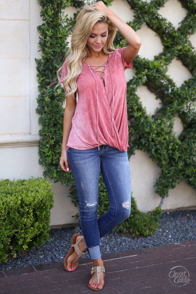 Closet Candy Boutique, Story of Us Top, short sleeve surplice top with criss cross neckline, spring and summer style, comfortable shirt