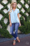 Story Of Us Top - Blue vintage wash cross over shirt trendy women clothes closet candy boutique