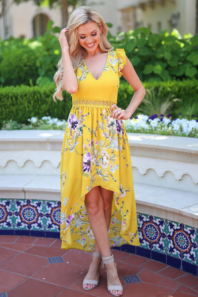 Color My World Maxi Dress - Mustard floral print maxi high low dress, front, Closet Candy Boutique