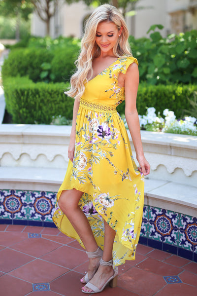 Color My World Maxi Dress - Mustard floral print maxi high low dress, side, Closet Candy Boutique