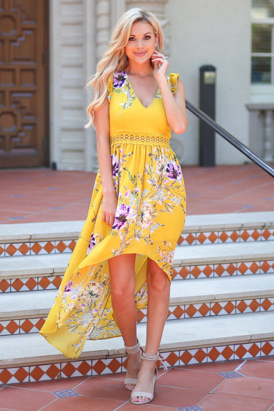Color My World Maxi Dress - Mustard floral print maxi high low dress, outfit, Closet Candy Boutique