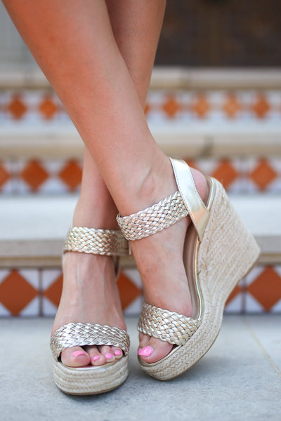 Walking In Memphis Wedges - Light Gold strappy wedges, front, Closet Candy Boutique