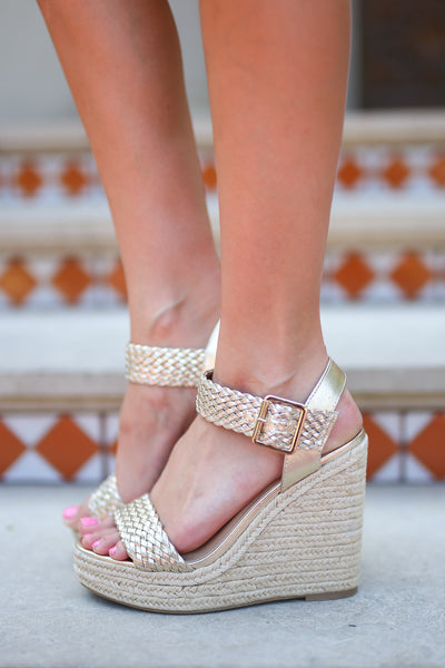 Walking In Memphis Wedges - Light Gold strappy wedges, side, Closet Candy Boutique