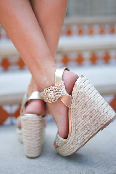 Walking In Memphis Wedges - Light Gold strappy wedges, back, Closet Candy Boutique