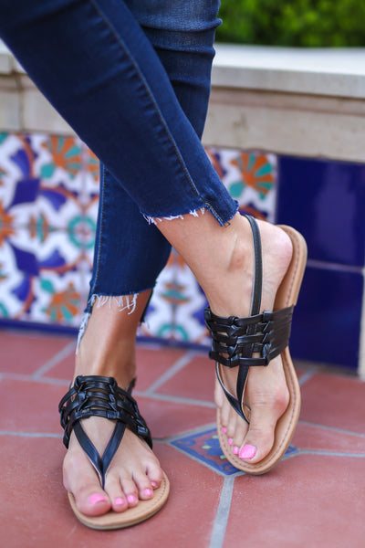 New Places Sandals - Black cute strappy sandals, front, Closet Candy Boutique