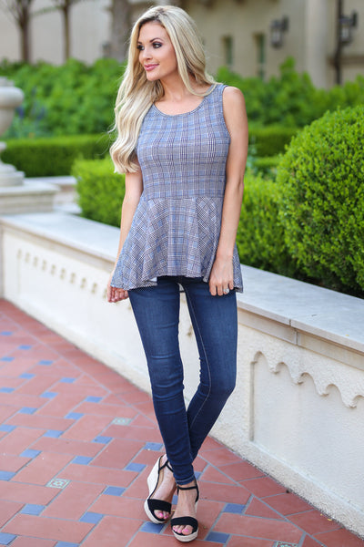 All About It Top - Black houndstooth peplum top, front, Closet Candy Boutique