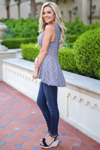 All About It Top - Black houndstooth peplum top, side, Closet Candy Boutique