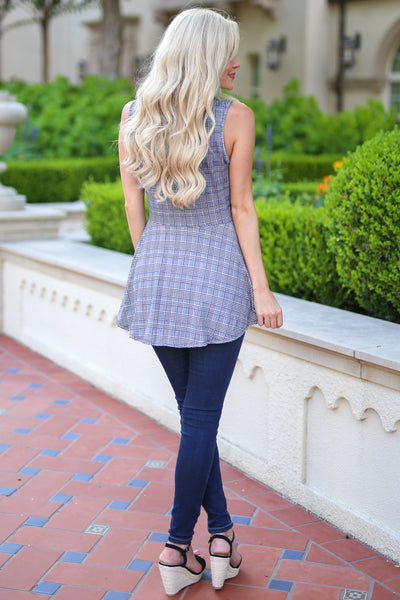 All About It Top - Black houndstooth peplum top, back, Closet Candy Boutique