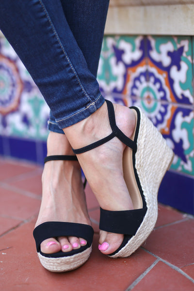 City Girl Wedges - Black strappy wedges, front, Closet Candy Boutique