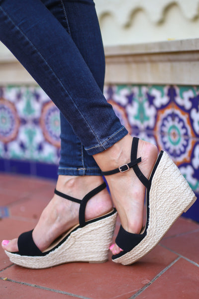 City Girl Wedges - Black strappy wedges, side, Closet Candy Boutique