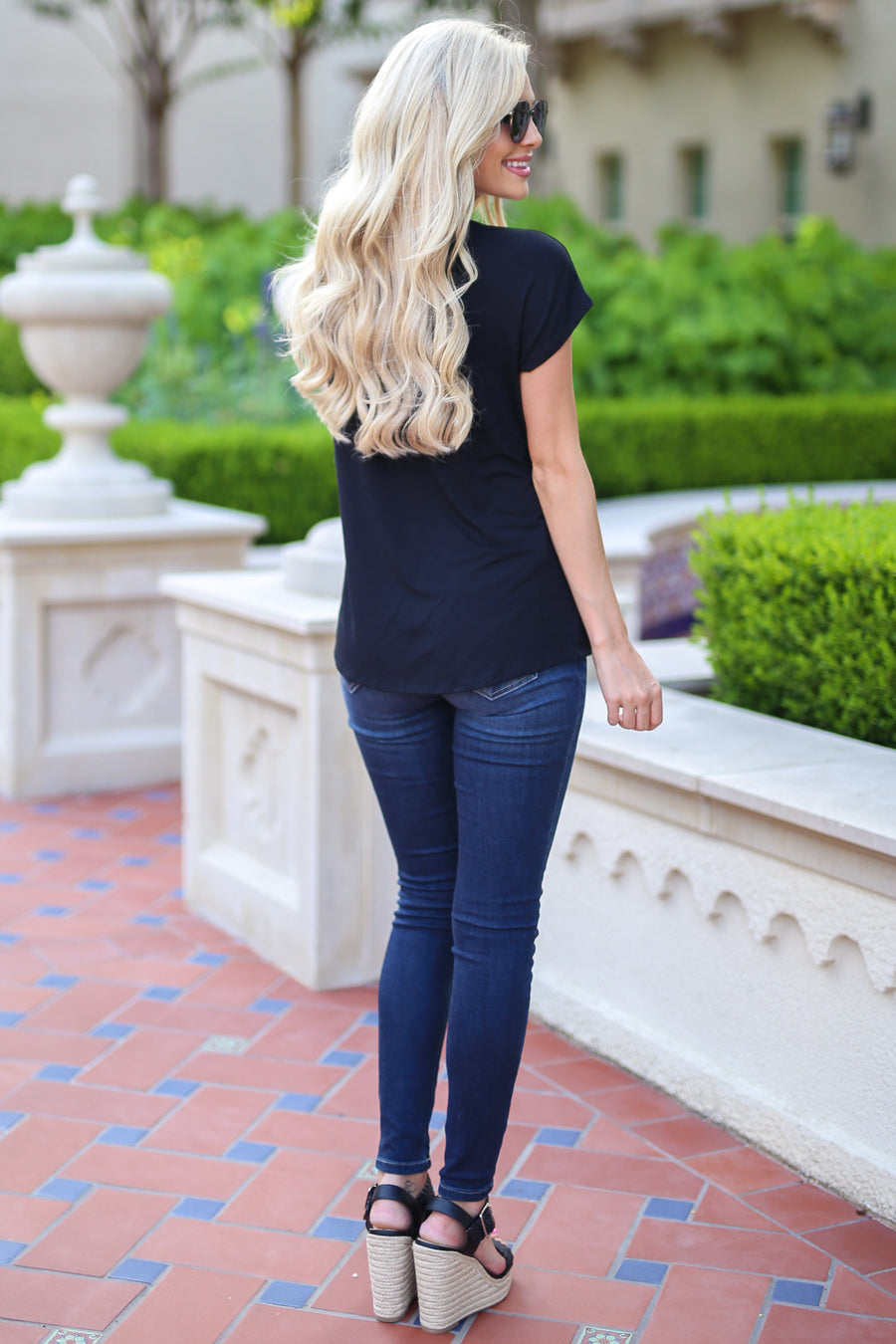 On the Daily Top - Black v-neck twist front top, Closet Candy Boutique 1