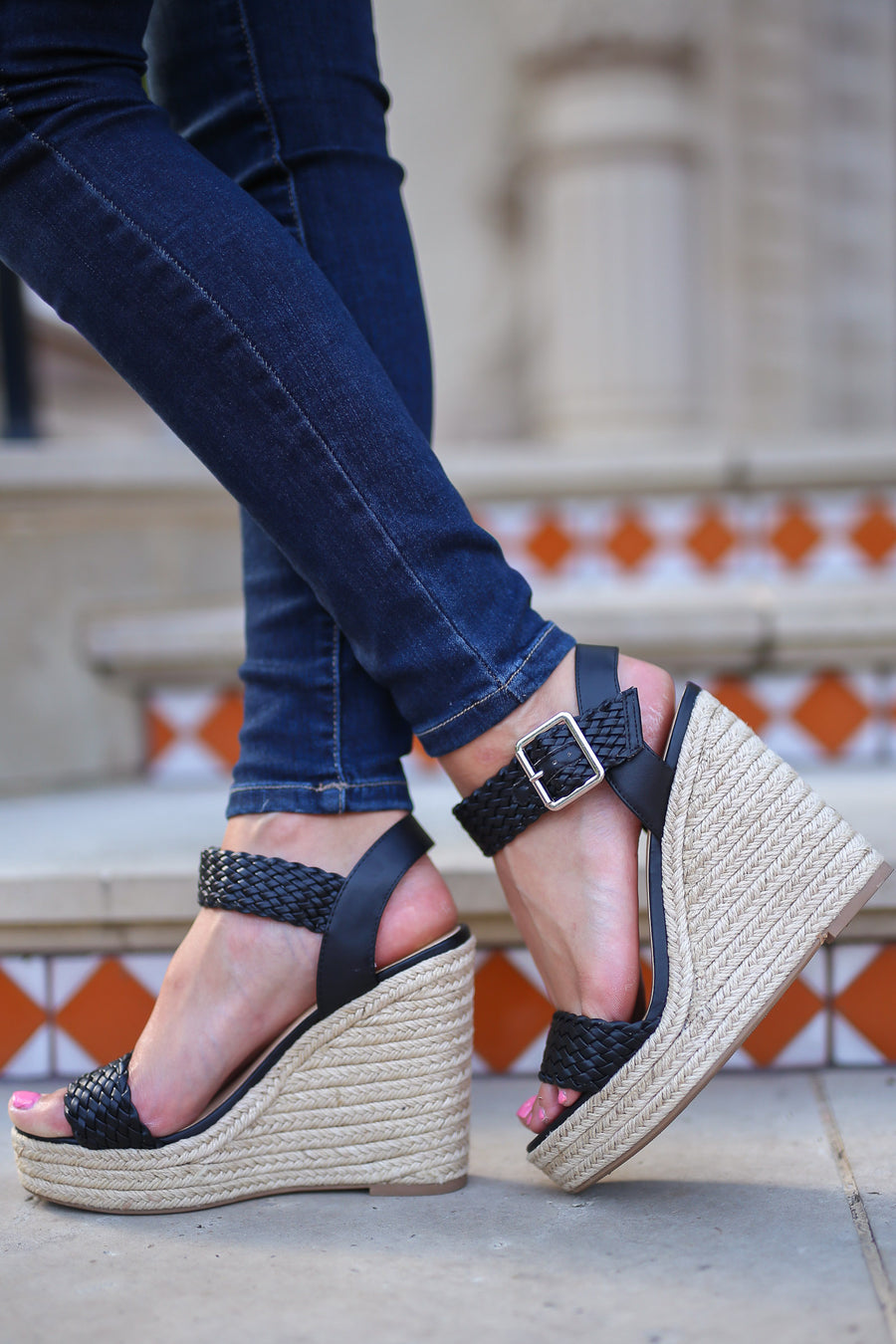 Walking In Memphis Wedges - Black woven strap wedges, front, Closet Candy Boutique