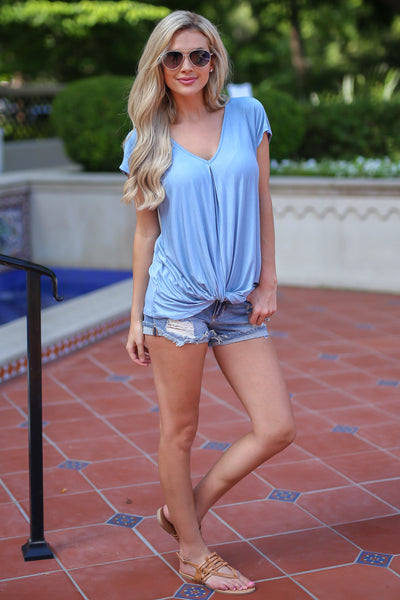 On the Daily Top - Light Blue v-neck knot top, front, Closet Candy Boutique