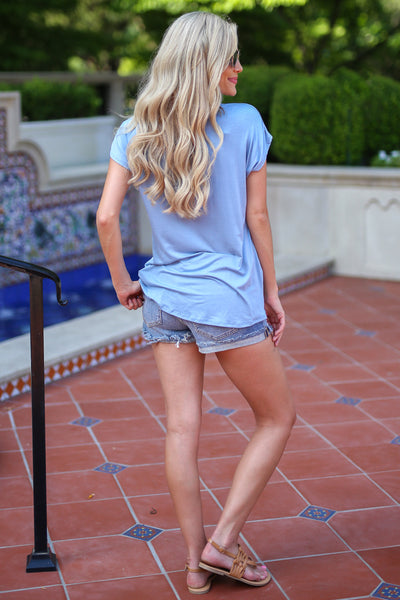 On the Daily Top - Light Blue v-neck knot top, back, Closet Candy Boutique
