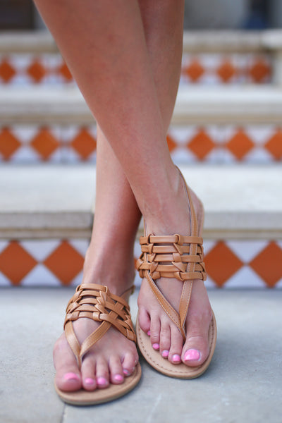 New Places Sandals - Camel woven strappy sandals, front, Closet Candy Boutique
