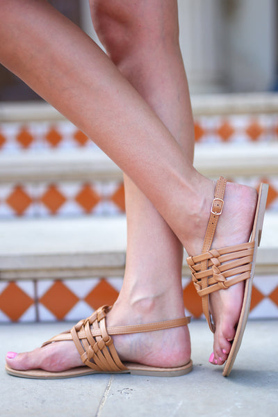 New Places Sandals - Camel woven strappy sandals, side, Closet Candy Boutique