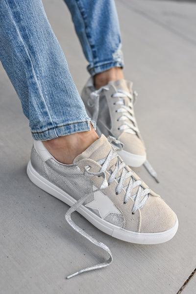 You're A Rockstar Sneakers - Sliver womens casual star tennis shoes closet candy 2