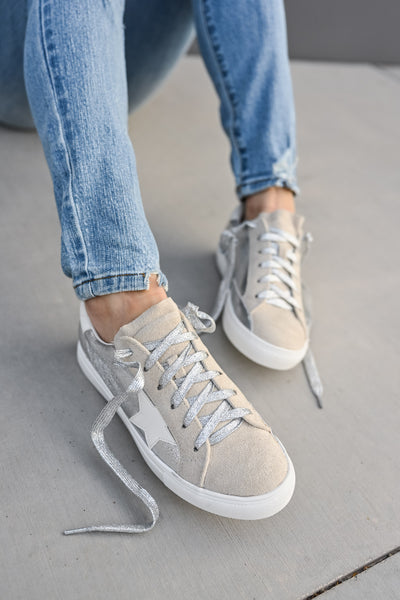 You're A Rockstar Sneakers - Sliver womens casual star tennis shoes closet candy 1