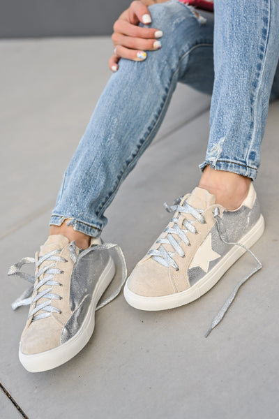 You're A Rockstar Sneakers - Sliver womens casual star tennis shoes closet candy 3