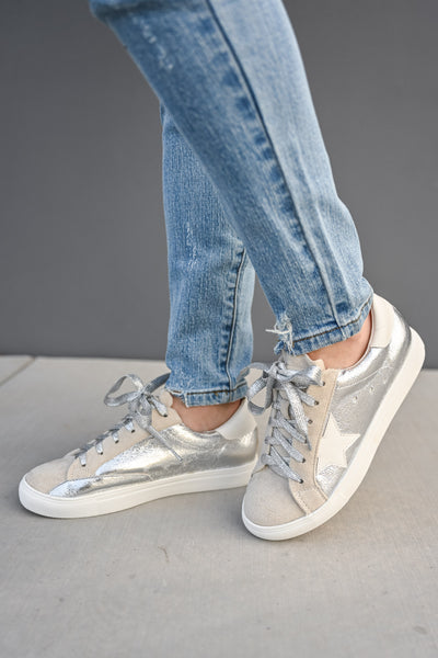 You're A Rockstar Sneakers - Sliver womens casual star tennis shoes closet candy 4
