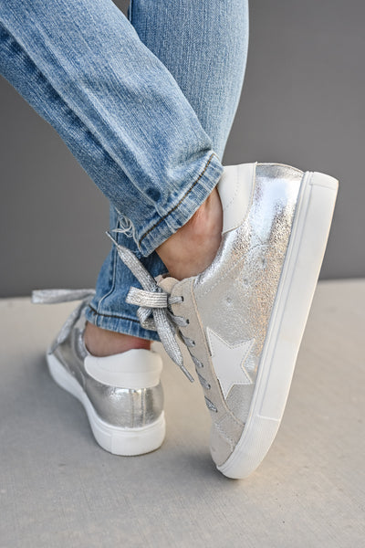 You're A Rockstar Sneakers - Sliver womens casual star tennis shoes closet candy 5