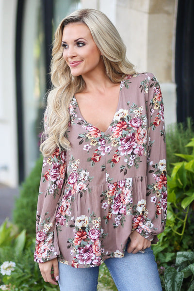 First Impressions Top - Mocha v-neck floral top, front, Closet Candy Boutique