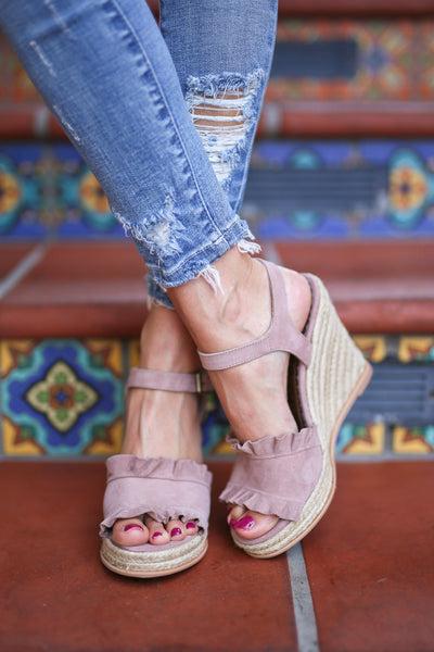 NAUGHTY MONKEY Rock the Ruffle Wedges - Blush ruffle peep toe wedges, front, Closet Candy Boutique