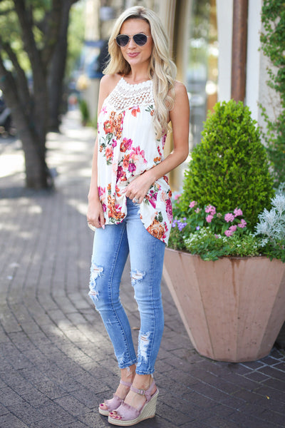 Some Kind of Wonderful Top - Ivory floral print crochet neckline top, side, Closet Candy Boutique