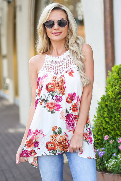 Some Kind of Wonderful Top - Ivory floral print crochet neckline top, front, Closet Candy Boutique