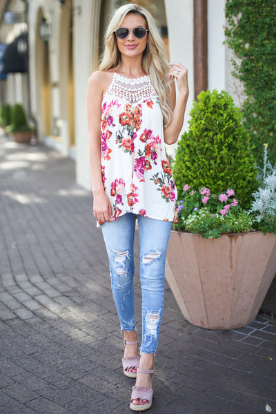 Some Kind of Wonderful Top - Ivory floral print crochet neckline top, outfit, Closet Candy Boutique