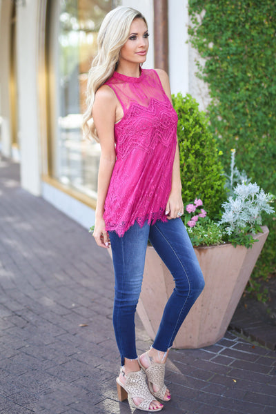 Sunshine on the Mind Top - Fuchsia lace sleeveless top, side, Closet Candy Boutique