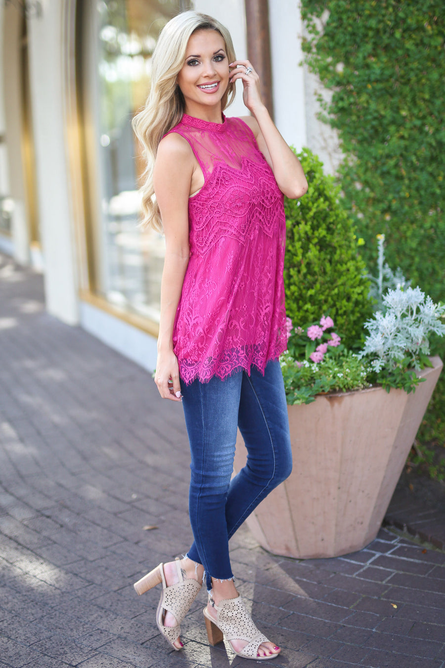 Sunshine on the Mind Top - Fuchsia lace sleeveless top, front, Closet Candy Boutique