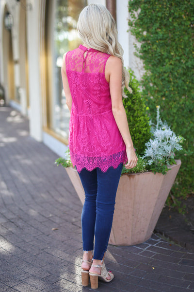 Sunshine on the Mind Top - Fuchsia lace sleeveless top, back, Closet Candy Boutique