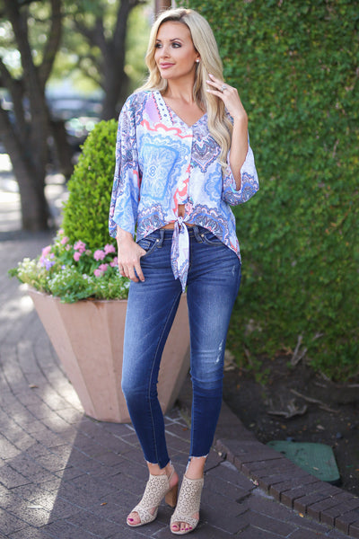 Miami Mood Top - Ivory paisley print knot top, outfit, Closet Candy Boutique