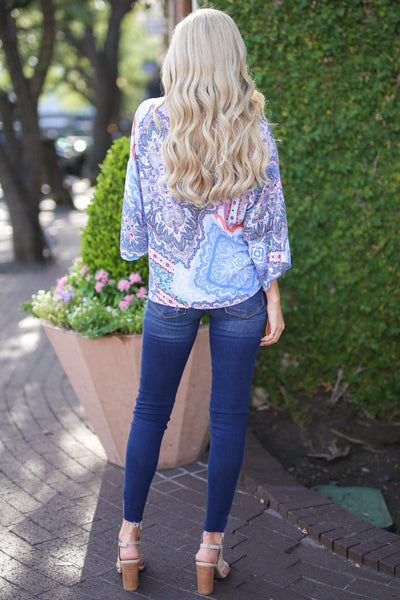 Miami Muse Top - Ivory paisley print knot top, back, Closet Candy Boutique