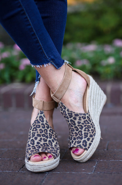One Step Ahead Wedges - Cheetah print peep toe wedges, front, Closet Candy Boutique