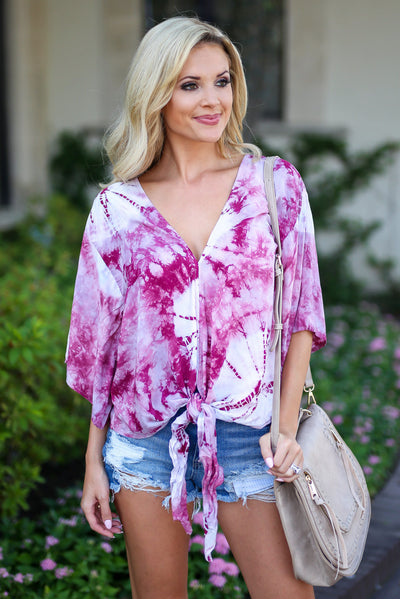 LOVE STITCH So Cal On My Mind Top - Wine tie dye v-neck tie front top, cute women outfit, Closet Candy Boutique