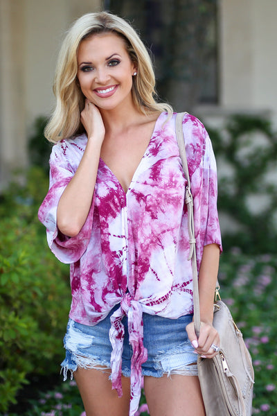 LOVE STITCH So Cal On My Mind Top - Wine tie dye v-neck tie front top, cute women outfit, front, Closet Candy Boutique