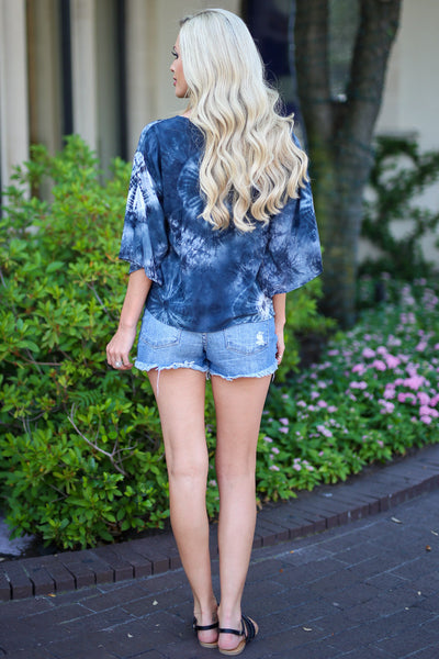 LOVE STITCH So Cal on My Mind Top - Black tie dye v-neck knot top, back, Closet Candy Boutique