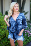 LOVE STITCH So Cal on My Mind Top - Black tie dye v-neck knot top, front, Closet Candy Boutique