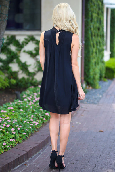 Something Special Dress - Black sleeveless crochet neckline dress, back, Closet Candy Boutique
