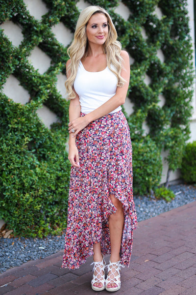 Isn't She Lovely Maxi Skirt - Pink floral print high low skirt, outfit, Closet Candy Boutique