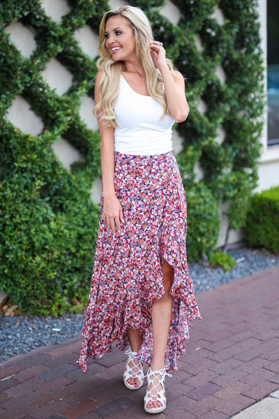 Isn't She Lovely Maxi Skirt - Pink floral print high low skirt, front, Closet Candy Boutique