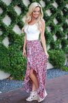 Isn't She Lovely Maxi Skirt - Pink floral print high low skirt, side, Closet Candy Boutique